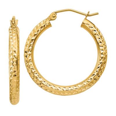 10K GOLD 20mm Round Hoop Earrings
