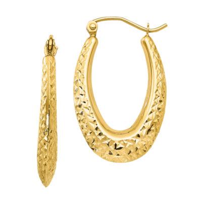 10K Gold 27mm Oval Hoop Earrings