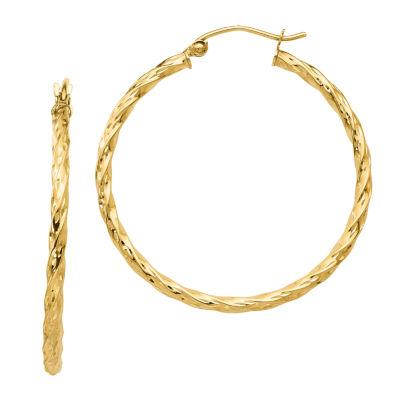 10K Gold 36mm Round Hoop Earrings