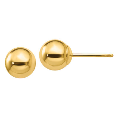 10K Gold 6mm Round Stud Earrings