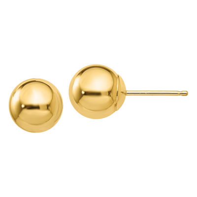 10K Gold 7mm Round Stud Earrings