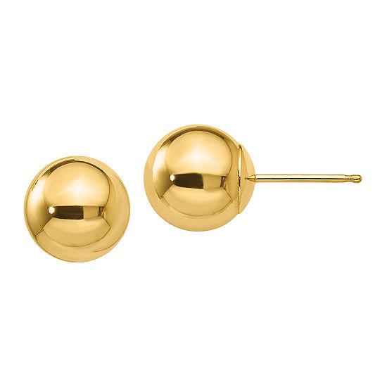 10K Gold 8mm Round Stud Earrings