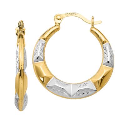 10K Gold 19mm Round Hoop Earrings