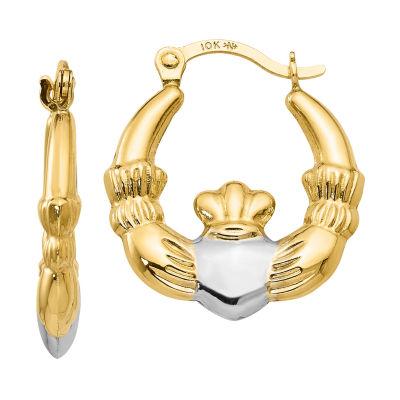 10K Gold 18mm Claddagh Hoop Earrings