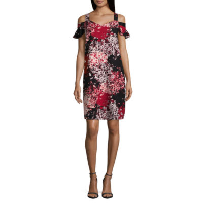 Worthington Short Sleeve Floral Shift Dress - Tall