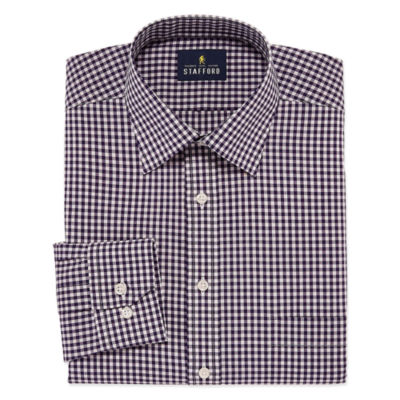 Stafford Travel Easy-Care Broadcloth Big And Tall Long Sleeve Broadcloth Gingham Dress Shirt