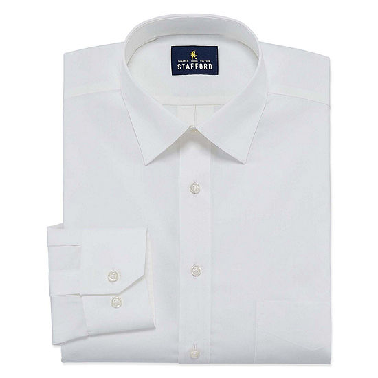 Stafford Travel Easy-Care Stretch Broadcloth Big And Tall Mens Point Collar Long Sleeve Wrinkle Free Stretch Dress Shirt