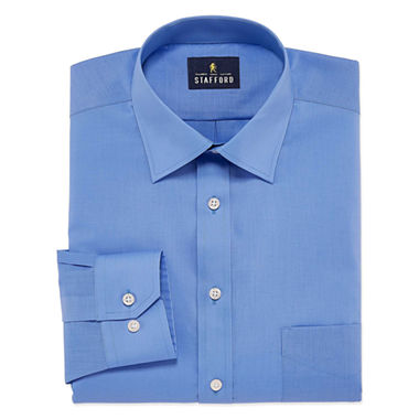 Stafford Travel Broadcloth Mens Wrinkle Free Stretch Dress Shirt