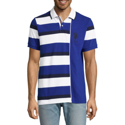 U.S. Polo Assn. Embroidered Short Sleeve Stripe Pique Polo Shirt
