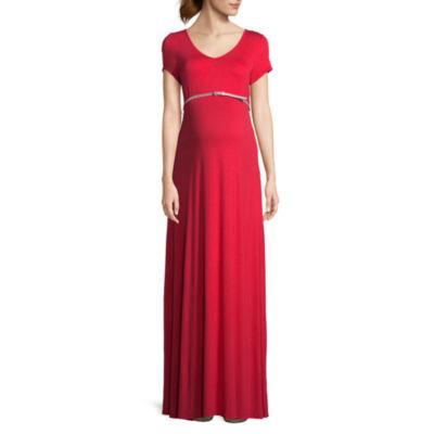 Planet Motherhood Short Sleeve Scoop Neck Maxi Dress - Maternity