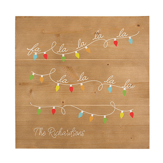 Cathy's Concepts Personalized Fa La La Wooden Wall Art