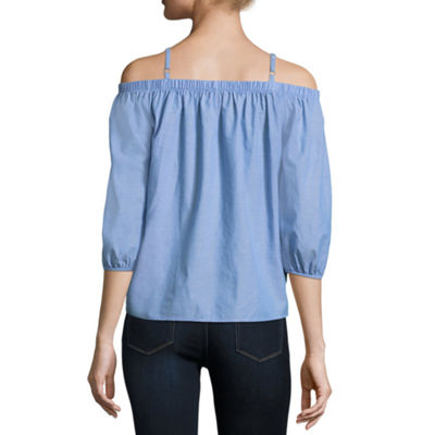 by&by 3/4 Sleeve Chambray Blouse-Juniors