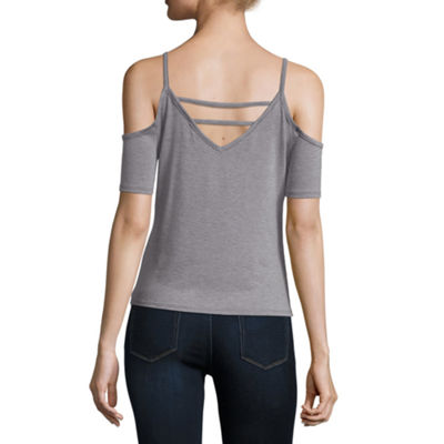 Arizona Cold Shoulder Ladder Back Knit Tee- Juniors