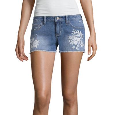 """Arizona 2.5"""" White Embroidered Shorts-Juniors"""