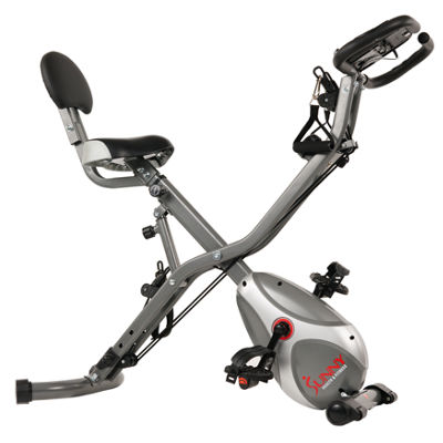 Sunny Health & Fitness Foldable Semi Recumbent Magnetic Upright Exercise Bike w/ Pulse Rate Monitoring, Adjustable Arm Resistance Bands and LCD Monitor - SF-B2710