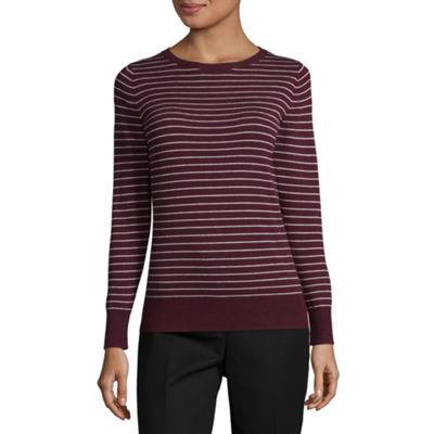 Worthington Long Sleeve Sweatshirt-Petite