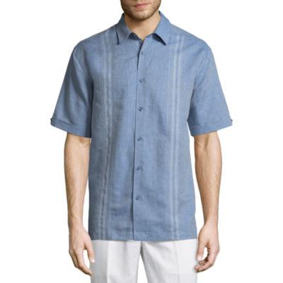 Havanera Havanera Linens Short Sleeve Panel Button-Front Shirt-Big and Tall