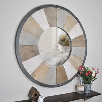 FirsTime Adler Rustic Wood Round Wall Mirror