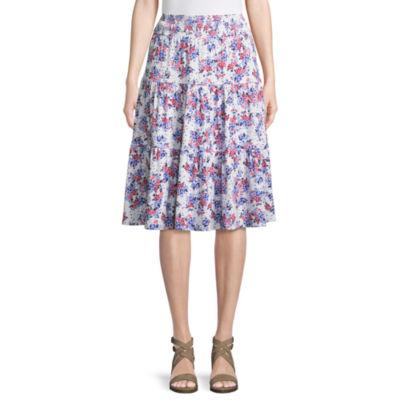 St. John's Bay Womens Elastic Waist Midi Pleated Skirt