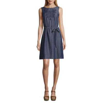 Liz Claiborne Sleeveless Embroidered A-Line Belted Dress