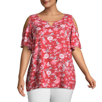 St. John's Bay® Short Sleeve Cold Shoulder Blouse - Plus