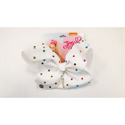Jojo Siwa Large White Multi Color Gem Rhinestone Signature Hair Bow