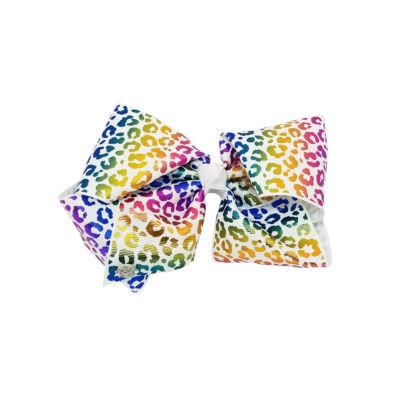 JoJo Siwa Signature White Rainbow Metallic Cheetah Bow