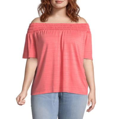 Boutique + Short Sleeve Woven Blouse - Plus