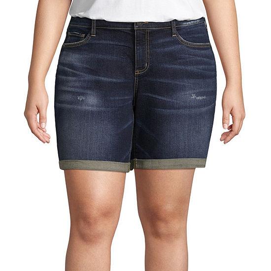 """Boutique + 8"""" Denim Shorts - Plus"""