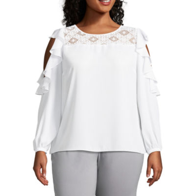 Worthington Long Sleeve Cold Shoulder Ruffle Top - Plus