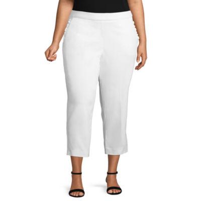 Worthington Slim Fit Ruffle Pocket Pull-On Crop - Plus