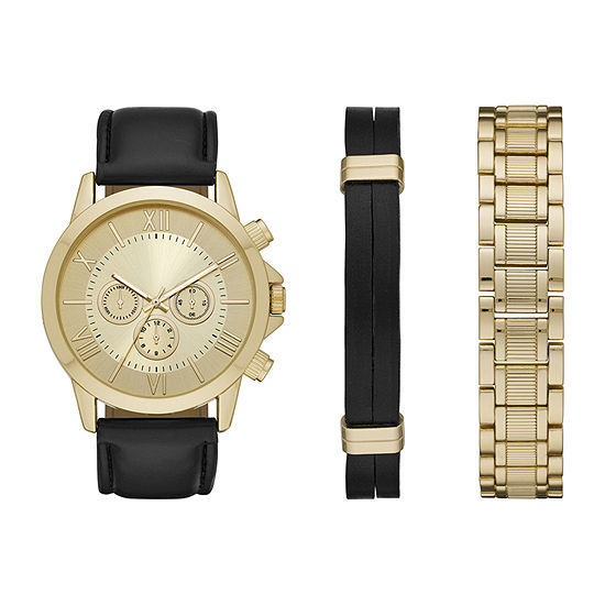 Mixit Mens Gold Tone 3-pc. Watch Boxed Set-Fmdjset537