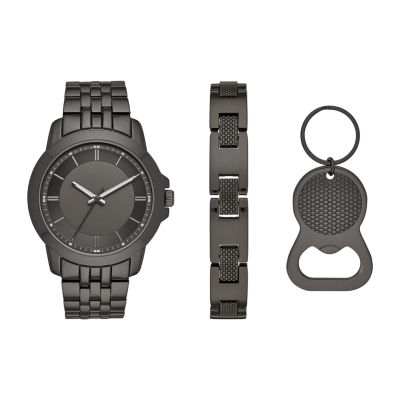 Mixit Mens Mixit Sets Mens Gray 3-pc. Watch Boxed Set-Fmdjset538