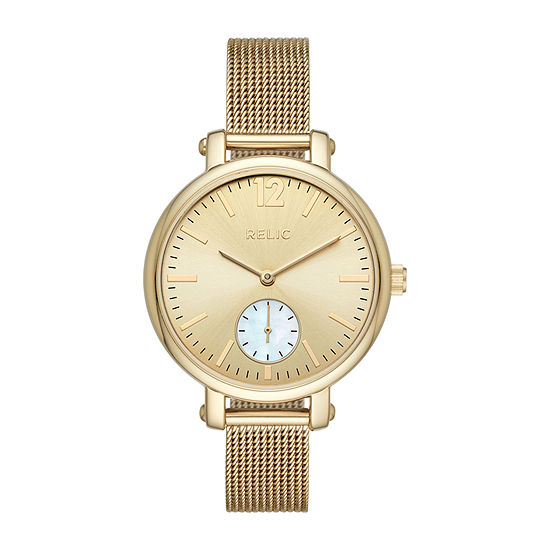 Relic By Fossil Addy Womens Gold Tone Bracelet Watch Zr34509