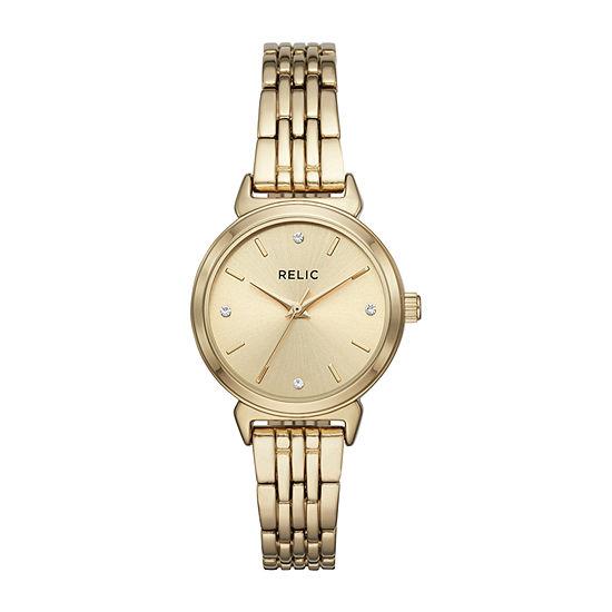 Relic By Fossil Sarah Womens Gold Tone Bracelet Watch Zr34522