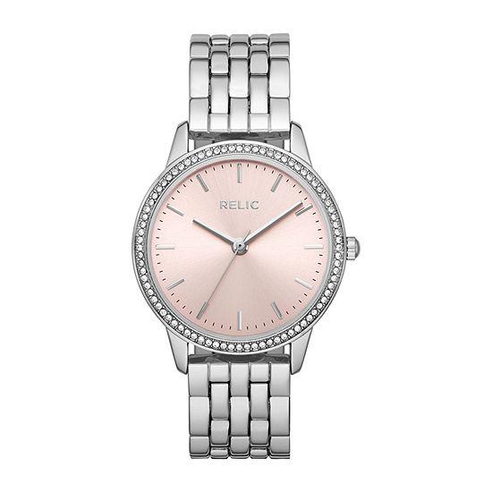 Relic By Fossil Georgia Womens Silver Tone Bracelet Watch-Zr34524