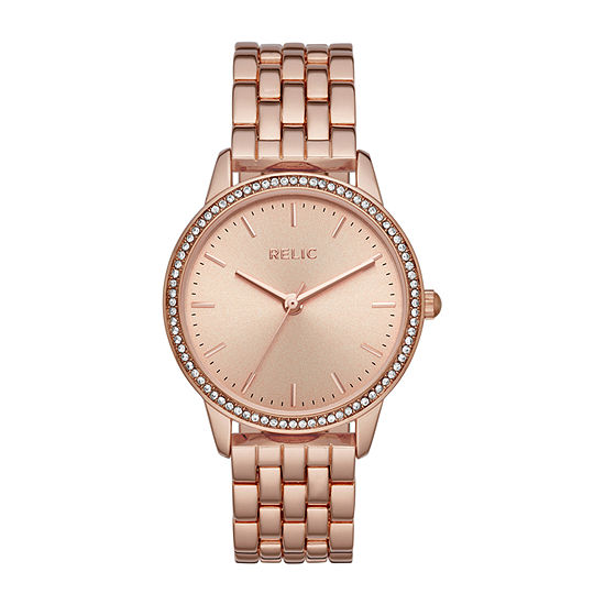 Relic By Fossil Georgia Womens Crystal Accent Rose Goldtone Bracelet Watch-Zr34526