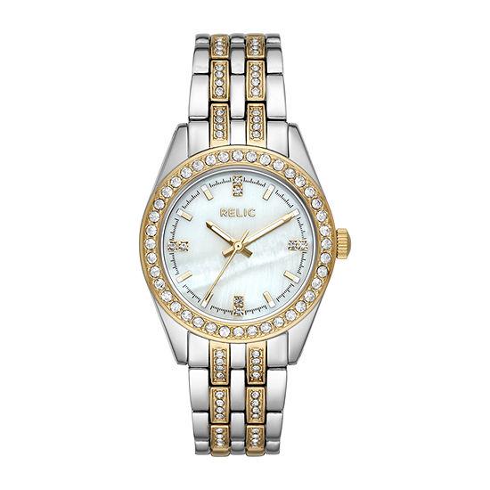 Relic By Fossil Iva Womens Two Tone Bracelet Watch-Zr34536
