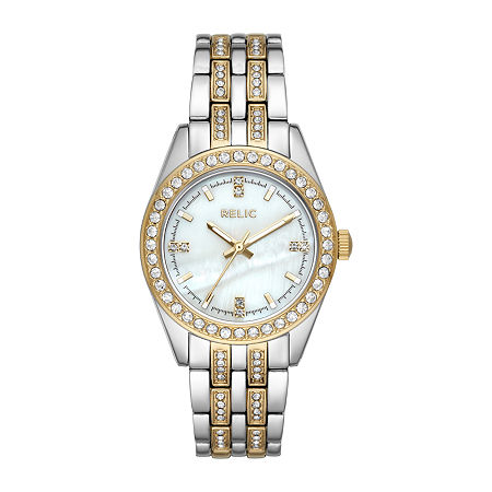 Relic By Fossil Iva Womens Crystal Accent Two Tone Bracelet Watch - Zr34536, One Size