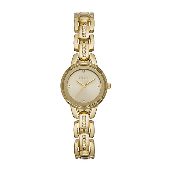 Relic By Fossil Caroline Womens Gold Tone Bracelet Watch-Zr34543