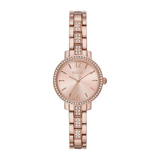 Relic By Fossil Reagan Womens Rose Goldtone Bracelet Watch-Zr34550