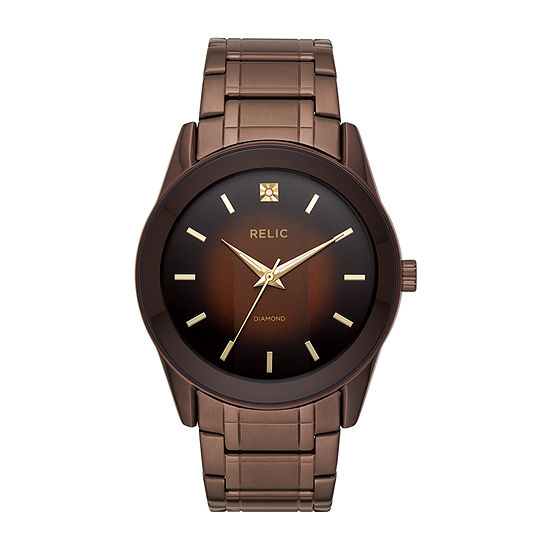 Relic By Fossil Rylan Mens Brown Stainless Steel Bracelet Watch Zr77312
