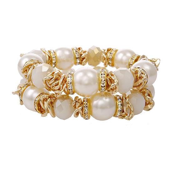 EL by Erica Lyons Gold Tone Beaded Bracelet