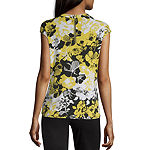 Liz Claiborne Cap Sleeve Twist Neck Tee - Tall