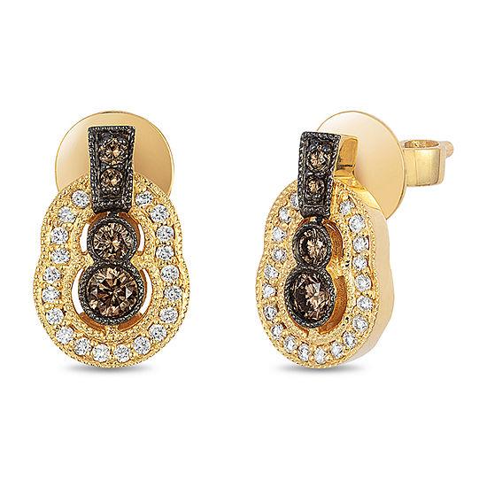 Le Vian Grand Sample Sale™ Earrings featuring Chocolate Diamonds®, Vanilla Diamonds® set in 14K Honey Gold™