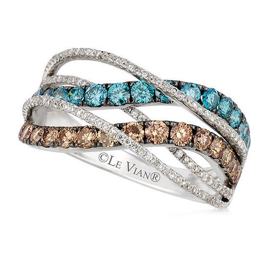 Le Vian Grand Sample Sale™ Ring featuring Chocolate Diamonds®, Ice Blue Diamonds, Vanilla Diamonds® set in 14K Vanilla Gold®