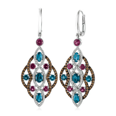 Le Vian 1 1/4 CT. T.W. Genuine Blue Topaz 14K White Gold Drop Earrings