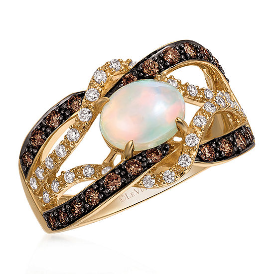 Le Vian Grand Sample Sale™ Ring featuring Neopolitan Opal™, Chocolate Diamonds®, Vanilla Diamonds® set in 14K Honey Gold™