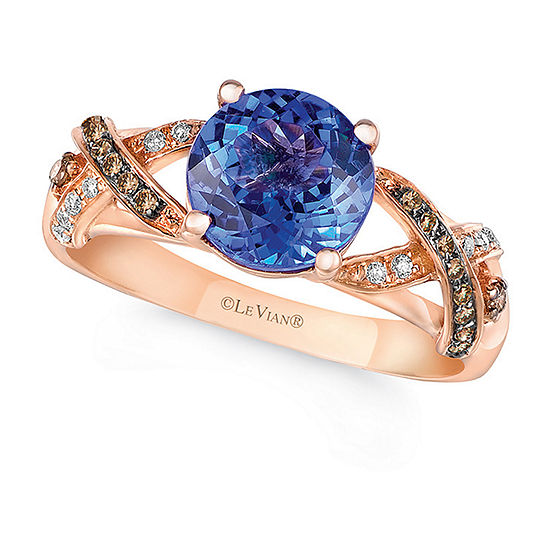 Le Vian Grand Sample Sale™ Ring featuring Blueberry Tanzanite®, Chocolate Diamonds®, Vanilla Diamonds® set in 14K Strawberry Gold®