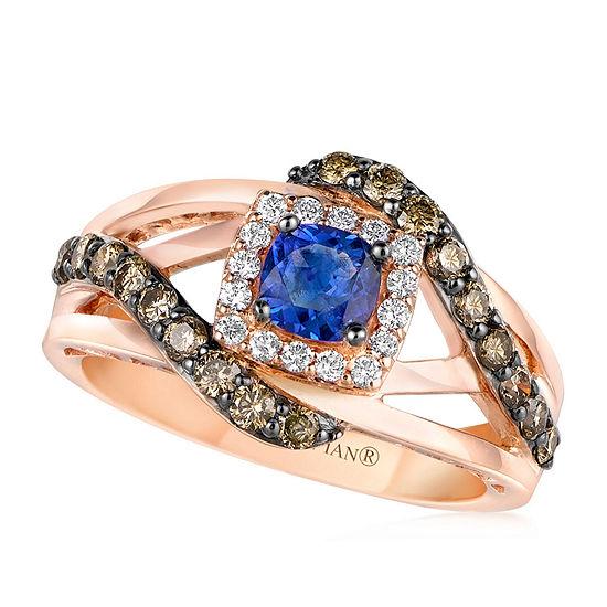 Le Vian Grand Sample Sale™ Ring featuring Blueberry Tanzanite®, Chocolate Diamonds®, Vanilla Diamonds® set in 14K Strawberry Gold®